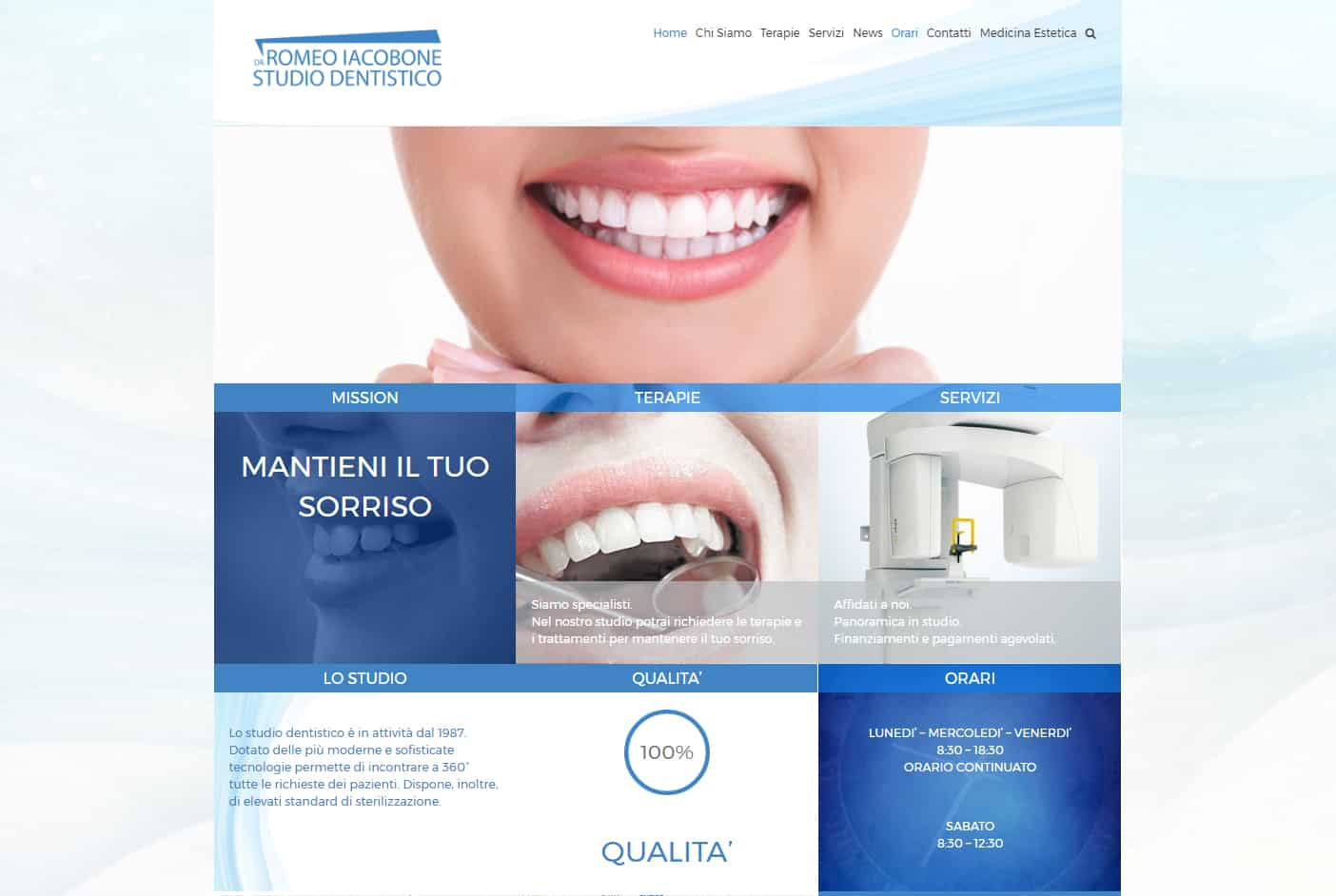 "Gestione sito web Studio Dentistico Romeo Iacobone Dr. e social media management Dal 2017 web design, gestione aggiornamento sito web e social media management dello Studio Dentistico Romeo Iacobone Dr. http://www.studiodentisticoiacobone.it/ www.pigikappa.com PiGiKappa.com Your Digital Partner ""We Share Everything"" #share #pgk #pigikappa #pigikappa.com #webmaintenance #socialmedia #management #social"