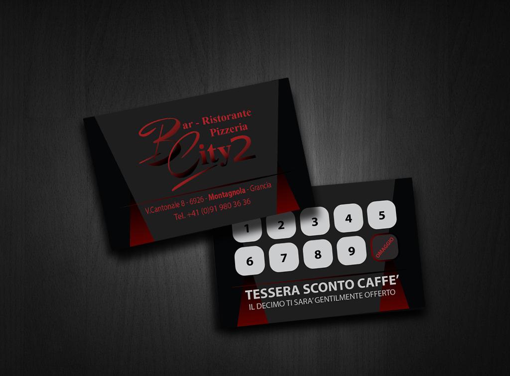 Concept Biglietti da Visita Bar Ristorante Pizzeria Bar City 2 (Lugano) Retro tessera caffè